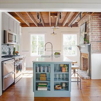 sky blue kitchen island design ideas