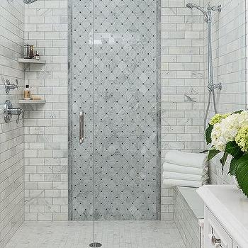 Floor To Ceiling Gray Diamond Shower Accent Tiles