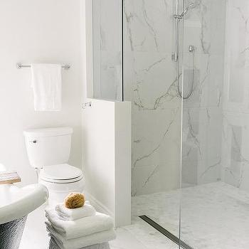 Marble Walk In Shower With Linear Drain