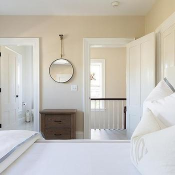 Genial White And Tan Bedroom With Wooden Headboard