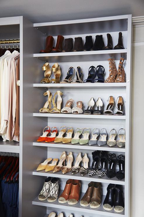 Gray Custom Shoe Shelves