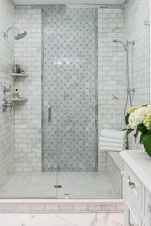 Gray Marble Shower With Clerestory Window And Face To Face