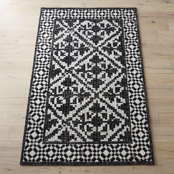 Montage Black White Mosaic Tile Rug