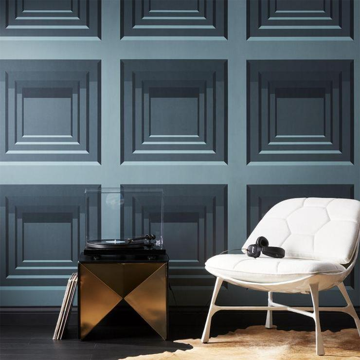Rome Teal Stacked Squares Illusion Wallpaper