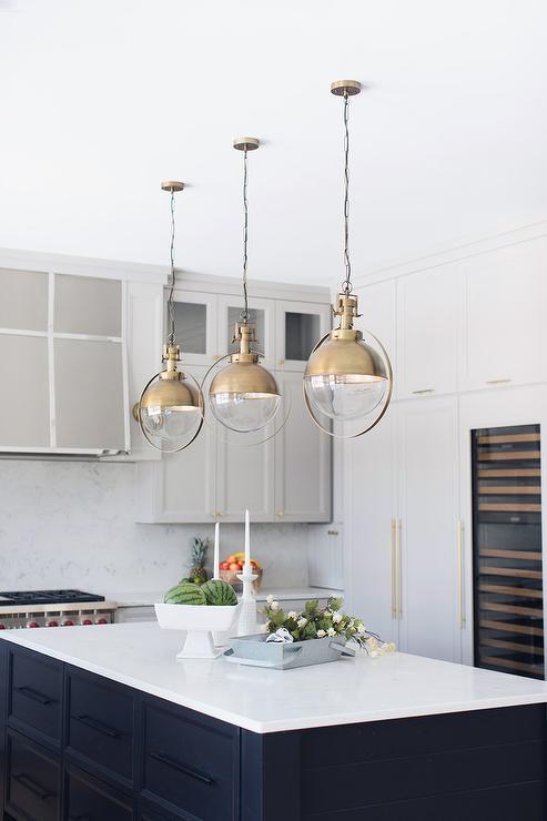 Vintage Style Kitchen Lighting Vintage style glass and brass lights over black shiplap island vintage style glass and brass lights over black shiplap island workwithnaturefo