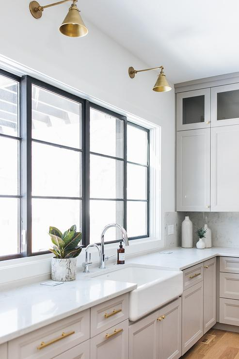 Gold Accents In Light Gray Kitchen Transitional Kitchen