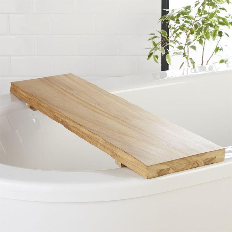Live Edge Teak Wood Bath Caddy