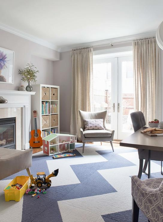 White and Blue Chevron Carpet Tiles - Transitional - Living Room