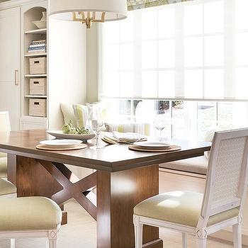 White And Green Dining Room Brown Table
