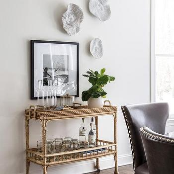 Serena And Lily South Seas Bar Cart With Gold Tray