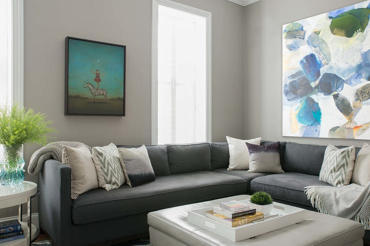 Black Corner Sectional with Platinum Gray Leather Tufted Storage Ottoman & Black Corner Sectional with Platinum Gray Leather Tufted Storage ...