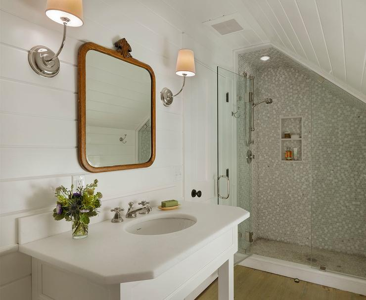 Lilac Girls Bathroom with Light Gray Sloped Ceiling - Transitional ...