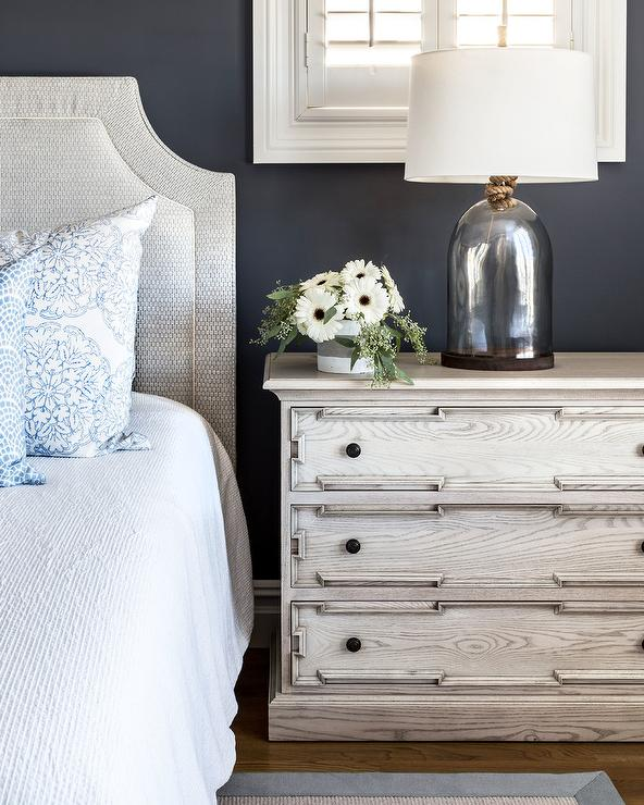 Gray Headboard With Light Gray Oak Nightstand