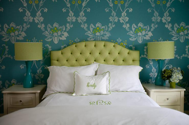 Lime Green Tufted Headboard With Turquoise Blue Lamps Transitional Bedroom