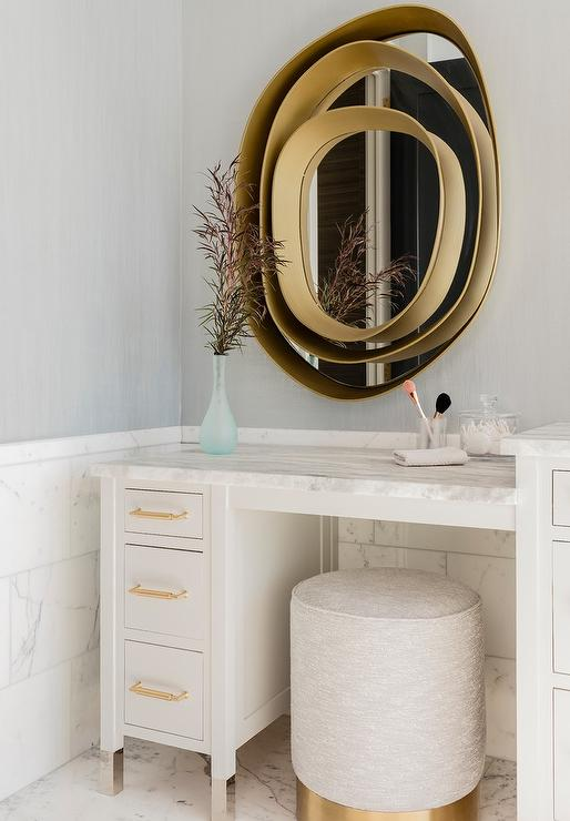 White makeup vanity with light gray and gold stool transitional white makeup vanity with light gray and gold stool aloadofball Gallery