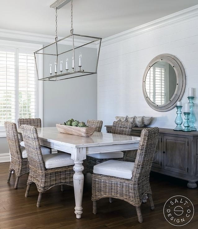 Whitewashed Dining Table With Wicker Chairs Cottage Dining Room