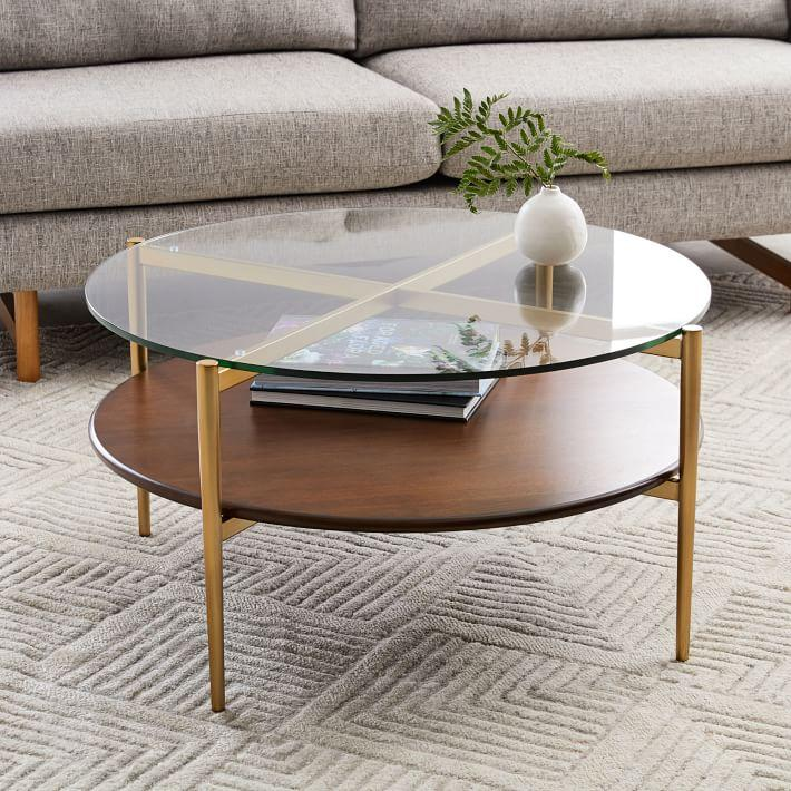 Brass Display Coffee Table: Brass And Smoke Glass Coffee Table