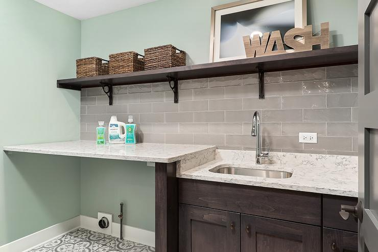 Brown Laundry Room Cabinets With Gray Glazed Tiles Transitional - Gray glazed cabinets