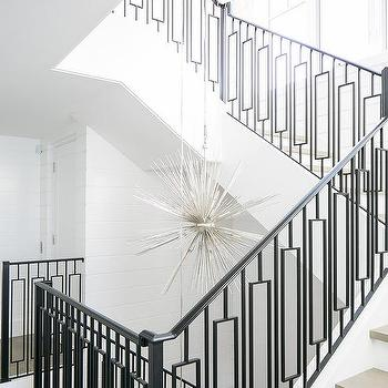 Silver sputnik staircase chandeliers design ideas modern wrought iron staircase railing with gray stair treads aloadofball Image collections