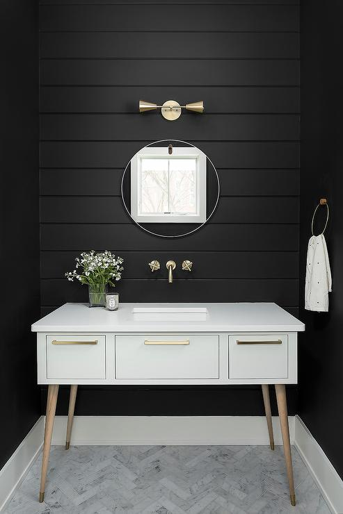Black Marble Sink Transitional Bathroom Enjoy Company