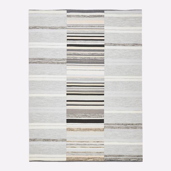 Gypsy Stripe Turquoise Grey Woven Cotton Rug: Dash & Albert Rug Company �» Autumn Stripe Woven Cotton
