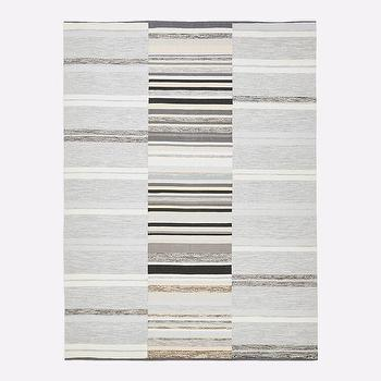 Steven Alan Textured Stripe Beige And Grey Dhurrie Rug