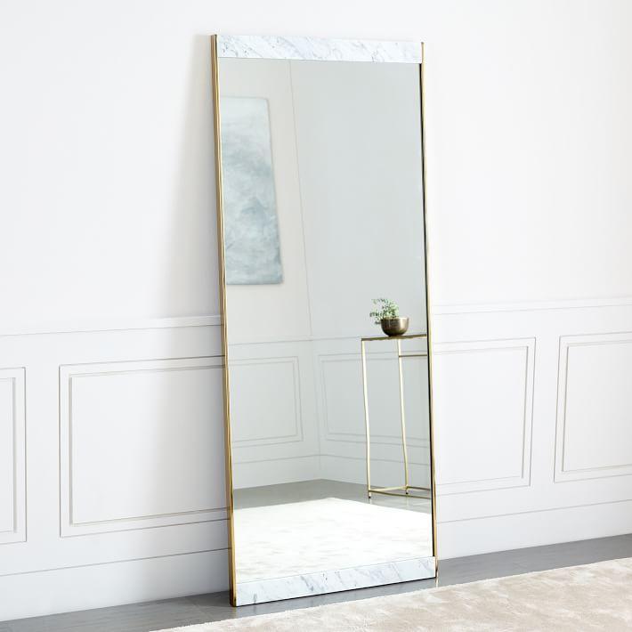 Rectangular White Marble Brass Frame Floor Mirror