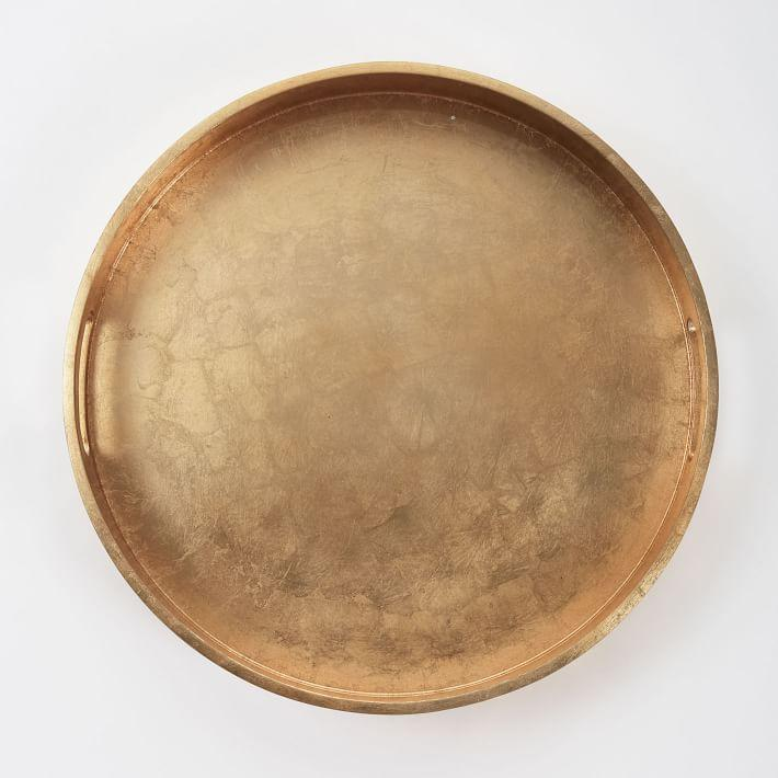 Top Round Metallic Lacquered Gold Tray IX05