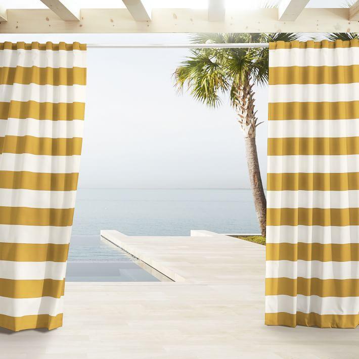Outdoor Citrus White Stripe Curtains