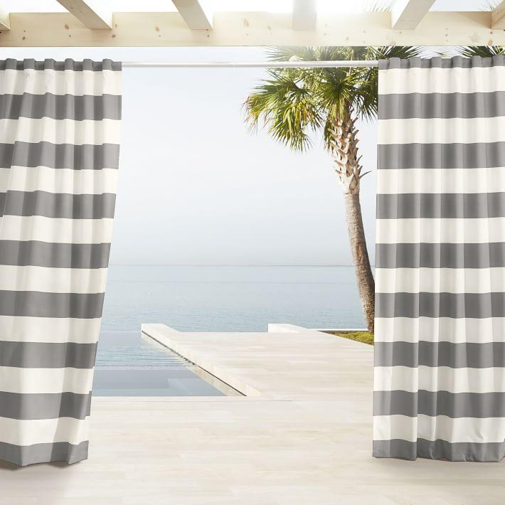Outdoor Light Gray White Stripe Curtains