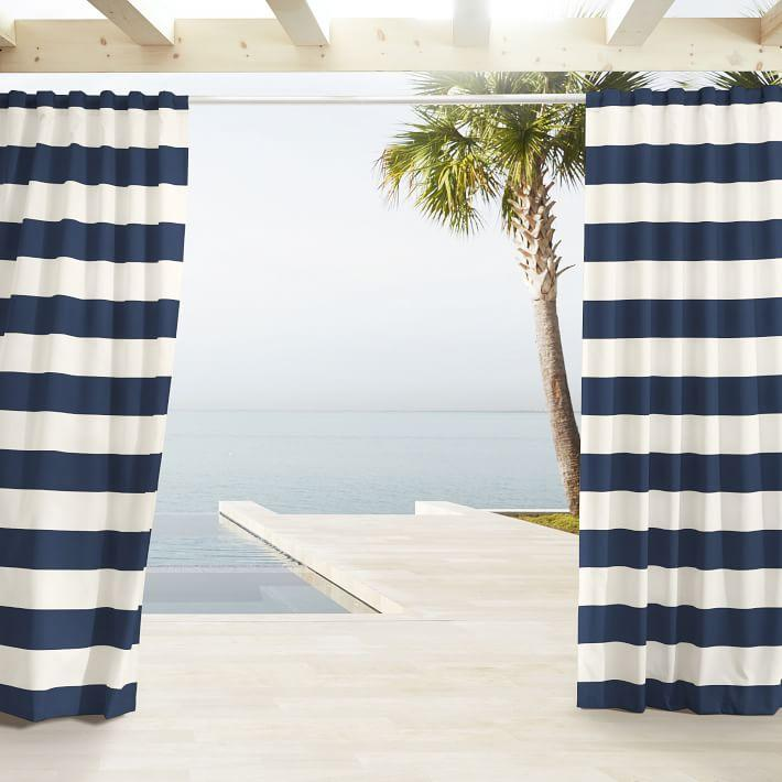 Outdoor Navy White Stripe Curtains