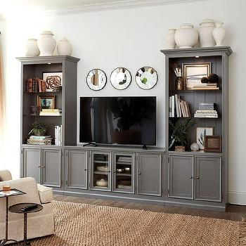 French Casement Grey Media Console