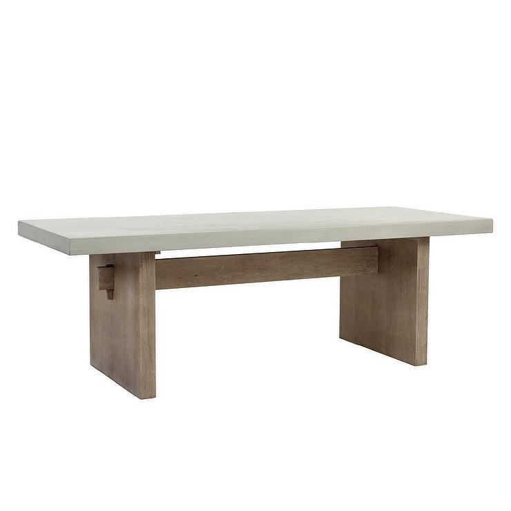 Argenta Concrete Top Oak Base Dining Table, Concrete Top Patio Table