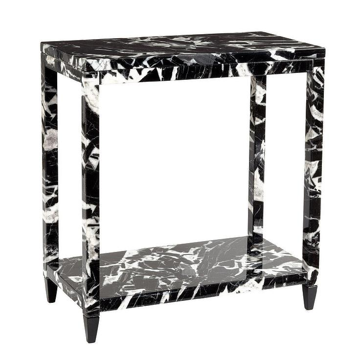 Miles Redd Black Faux Marble Side Table