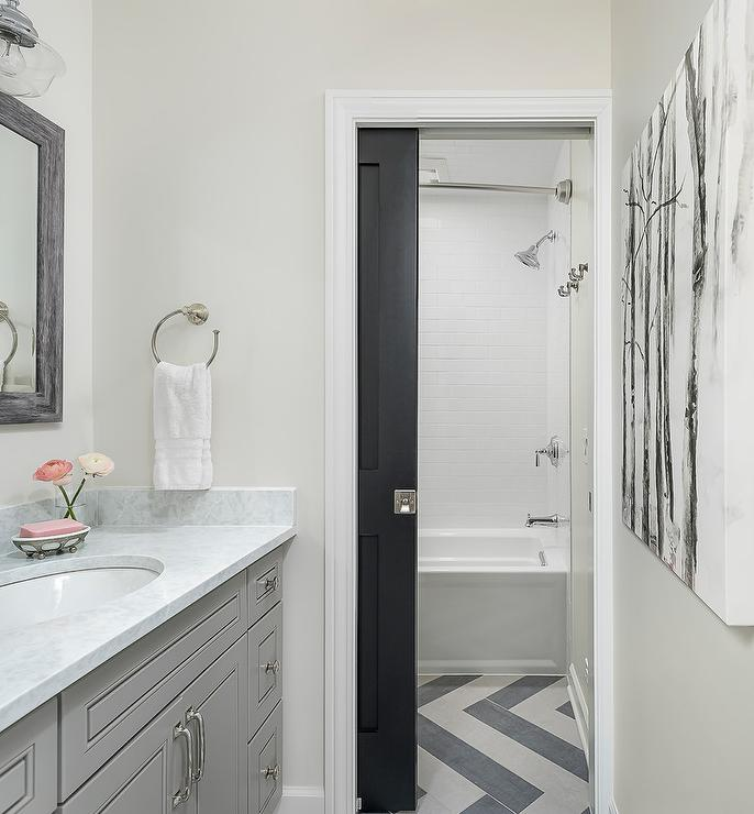 Black Herringbone Tile Transitional Bathroom Vallone