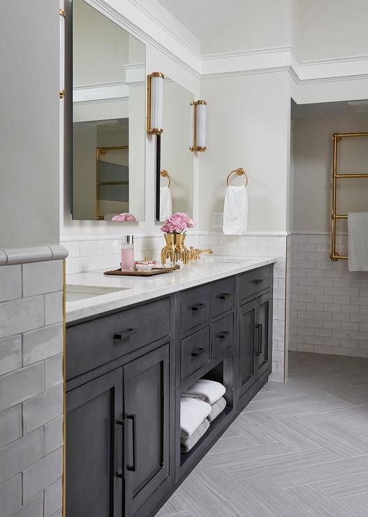 Black Dual Bath vanity with Towel Shelf