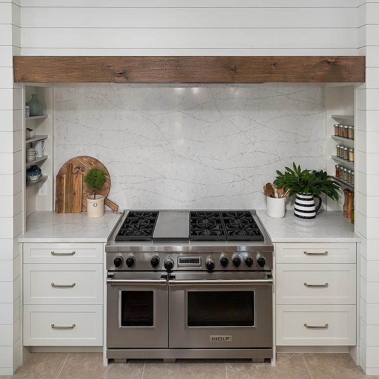 Shiplap Cooking Alcove With Spice Racks Transitional Kitchen