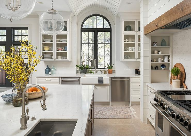 Arch Window Over Farmhouse Sink Transitional Kitchen