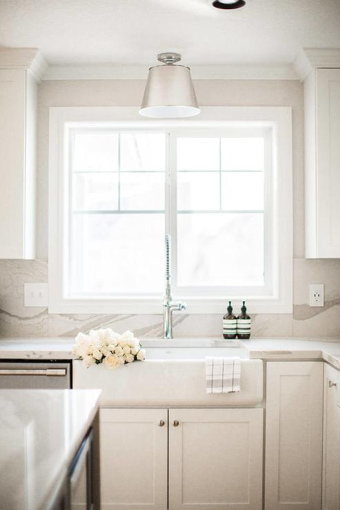 Farm Sink With Cambria Brittanicca Warm Countertops Transitional Kitchen Sherwin Williams Pure White