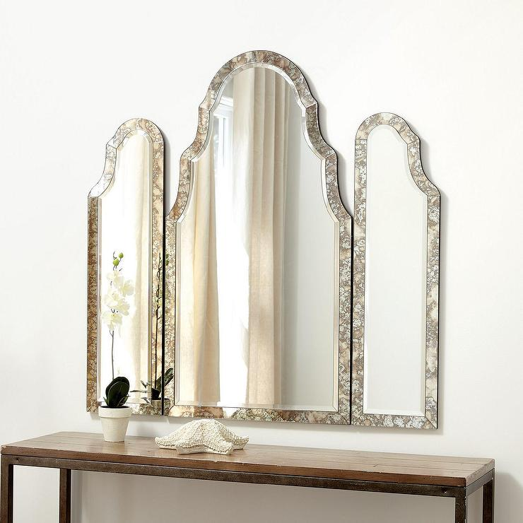 Miles Redd Arched Tri Fold Mercury Glass Vanity Mirror