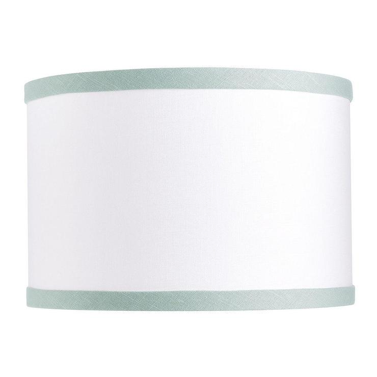 Couture green linen trim drum lamp shade aloadofball Images