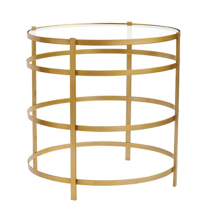 La Jolie Round Brass Glass Side Table - Round brass glass side table