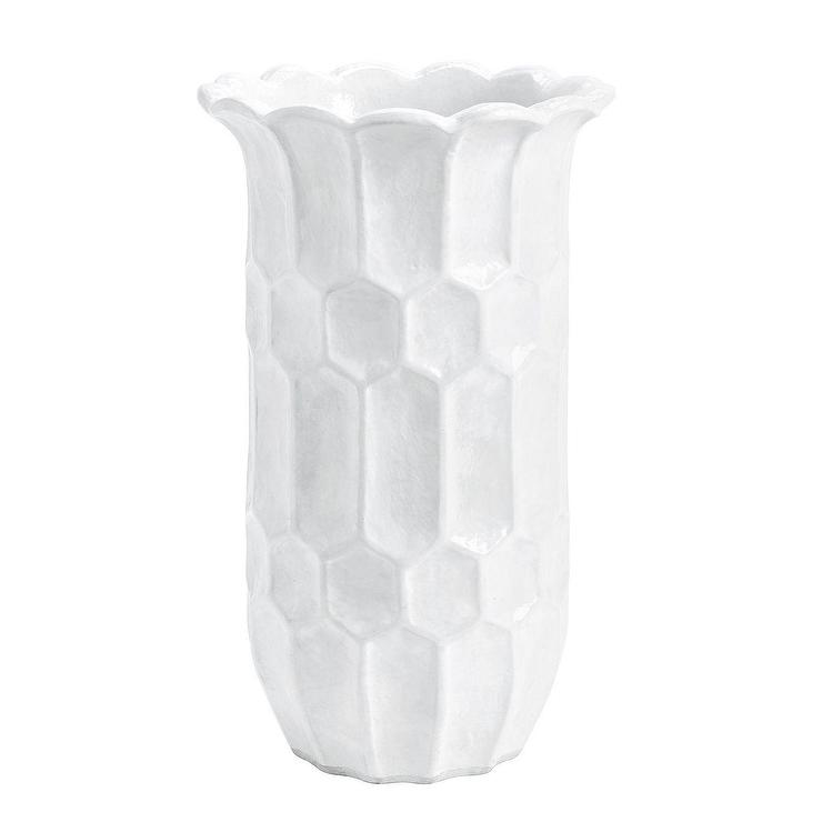 Large White Honeycomb Textured Ceramic Vase