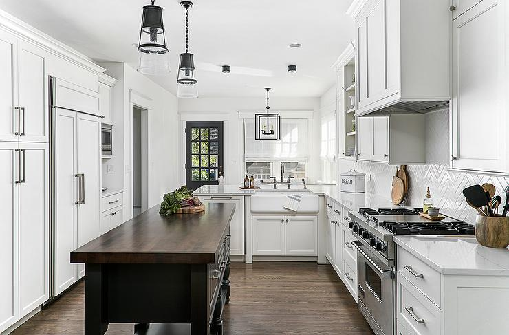 Charcoal Gray Lower Kitchen Peninsula With Wood And Metal Backless Stools Transitional Kitchen
