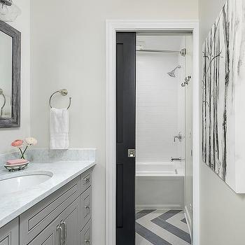 Black Herringbone Tile Transitional Bathroom Vallone