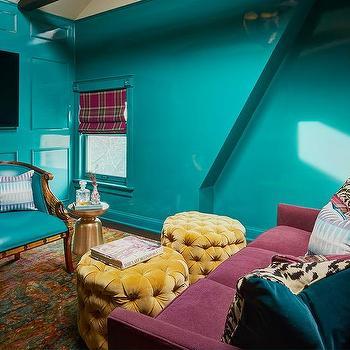 Purple Ottoman Transitional Living Room Sally Wheat