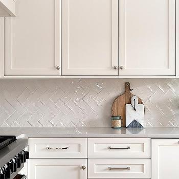 Ivory Glazed Herringbone Kitchen Backsplash Tiles Design Ideas