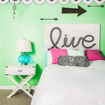 Turquoise Blue Shared Girls Bedroom With White Open Bookcase As Nightstand Transitional Girl S Room