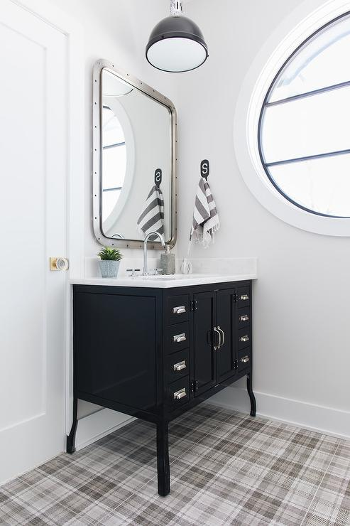 Industrial Bathroom With Reclaimed Wood Washstands And