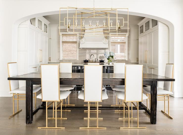 White And Gold Tall Back Dining Chairs With Wood Plank Table